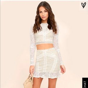 Lace White set skirt and top